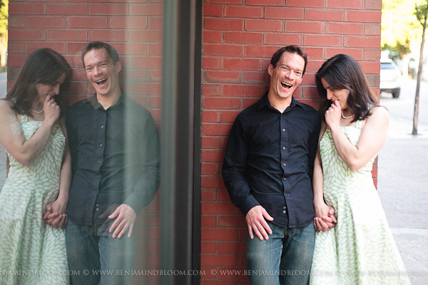 Peter & Emily's Burlington Vermont Engagement (E-Session) photos: Brick wall with glass reflection