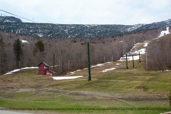 Looking up the gondola liftline at Stowe.  Vermont skiing is fading quickly.